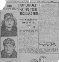 Helen and Victor Young return from Poland - Reported in Chicago Newspaper