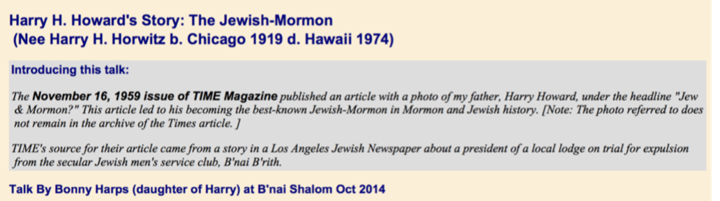 Harry H. Howard's Story: The Jewish-Mormon
