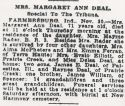 Margaret Ann Williams (1863-1934), Obituary