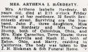 Arthena Isabelle Nicoson (1866-1951), Obituary
