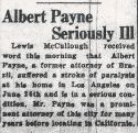 Albert Gifford Payne (1855-1939), Report of illness