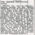 Bercha Whittington (1894-1961), Obituary