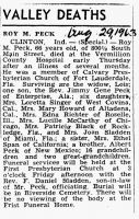 Roy Maynard Peck (1896-1963), Obituary
