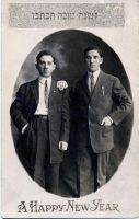 Abe and Morris Horwitz - brothers - single young men in Chicago on New Year Card - taken in Chicago 19-teens.