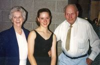 Katie Mayland with her grand parents, Dorothy and Phil Woodland