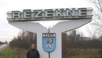 Rezekne Town Sign with Dave Howard